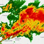 Radar imagery of heavy storms in Louisville on Friday morning, April 4, 2015