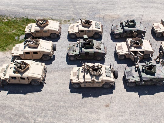 Vermont Army National Guard Humvees line up before