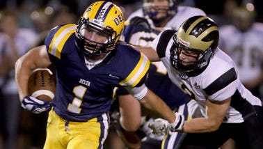 Delta's Joe Spegal (pictured in a game against Mount Vernon) rushed for 208 yards Friday against Pendleton Heights.