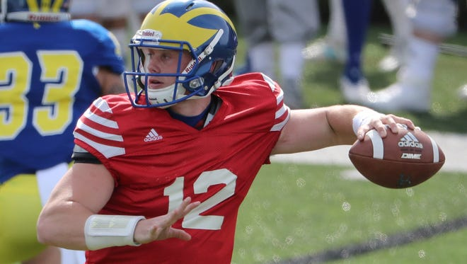 Delaware quarterback Pat Kehoe throws during Delaware's Blue-White Spring game Saturday at Delaware Stadium.