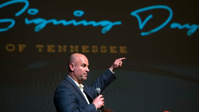 Tennessee head coach Jeremy Pruitt talks about the new signing class in a Signing Day celebration at the Tennessee Theatre on Wednesday, February 7, 2018.