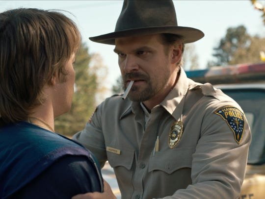 Charlie Heaton, left, and David Harbour co-star in