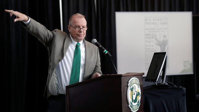 Green Bay Packers historian Cliff Christl shares some highlights from the team's history, during a press conference April 9, 2018 announcing events that will be held throughout the next 16 months to celebrate 100 seasons of the Packers.