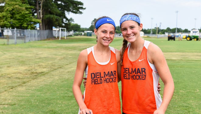 Teammates and cousins Josie Hollamon (right) and Maci Bradford have both been selected to play on the junior Olympics field hockey team.