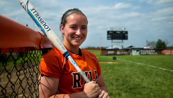 Senior shortstop Maclai Branson poses on the softball field at Ryle High School in Union, Ky., on Wednesday, May 2, 2018.