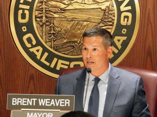 Mayor Brent Weaver speaks Tuesday night as the Redding City Council defended against critics a decision to promote Barry Tippin to city manager.