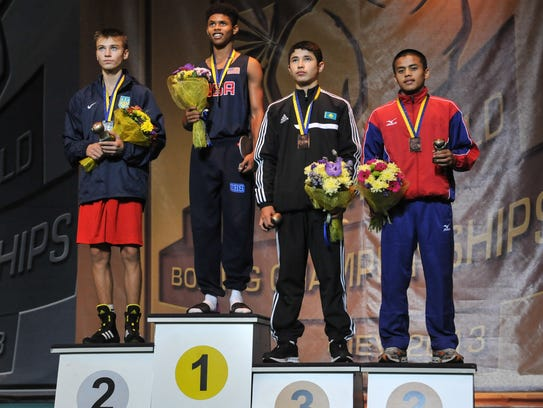 Shakur Stevenson on medal stand