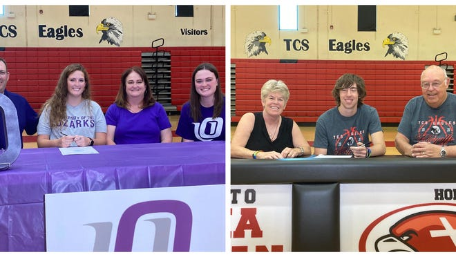 Texoma Christian's Jenna Fortenberry (University of the Ozarks) and Charlie Zeis (Oklahoma Wesleyan) announced their college choices to play basketball.