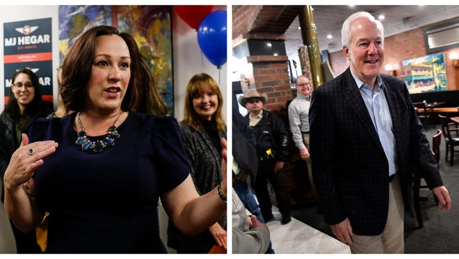 MJ Hegar (left) and U.S. Sen. John Cornyn, R-Texas, will debate on Oct. 9 in Austin.