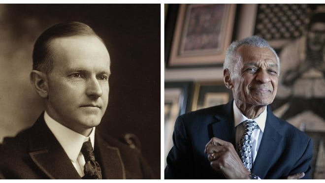Calvin Coolidge, left, whose presidency included policies and agendas that some observers now view as racist, has a school named after him in Peoria. C.T.  Vivian, (right) a renown civil rights leader who early in his career worked in Peoria, does not. [PHOTO OF C.T. VIVIAN BY DAVID GOLDMAN/ASSOCIATED PRESS].