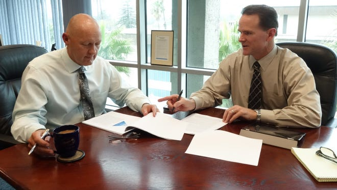Oxnard City Manager Greg Nyhoff, left, is shown in this 2015 photo with Police Chief Scott Whitney, who was interim assistant city manager at the time.