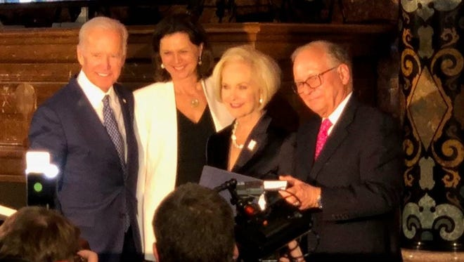 Cindy McCain accepts the Munich Security Conference's Ewald von Kleist Award on behalf of her husband, Sen. John McCain on Feb. 17.