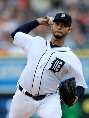 The Detroit Tigers Anibal Sanchez pitches against the Baltimore Orioles during first inning action on Friday, July 17, 2015 at Comerica Park in Detroit Michigan.