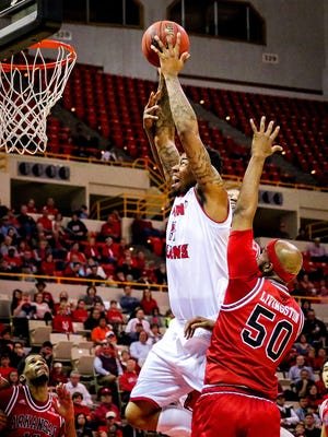 UL big man Shawn Long goes hard to the basket in last Thursday win's over Arkansas State at the Cajundome.