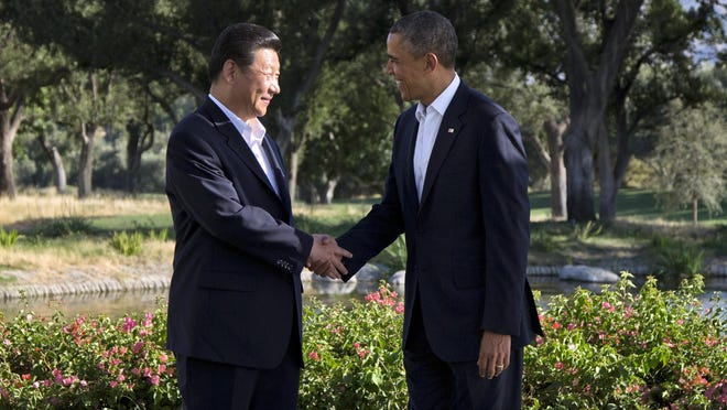 "President Barack Obama and Chinese President Xi Jinping meeting at the Annenberg Retreat at Sunnylands on June 7, 2013, in Rancho Mirage. The United States and China are two of the 12 countries currently negotiating a free trade deal that's been colloquially dubbed here ""Obamatrade."""