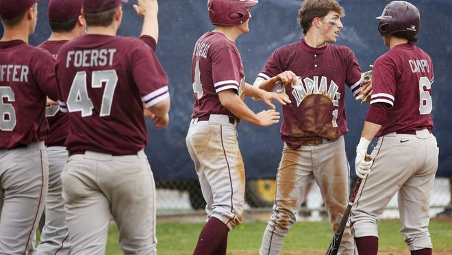 Toms River South, shown celebrating scoring a run in its 11-2 win at Toms River North on April 17, remains ranked No. 1 in the Asbury Park Press Baseball Top 10.