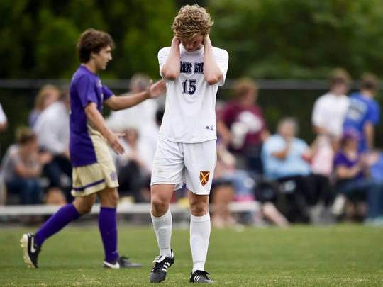 Father Ryan's Ethan Wilson (15) reacts after last year's semifinal defeat to Christian Brothers.
