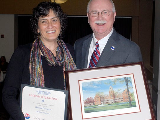 40-Year Service Award recipient Sandi Corman and President