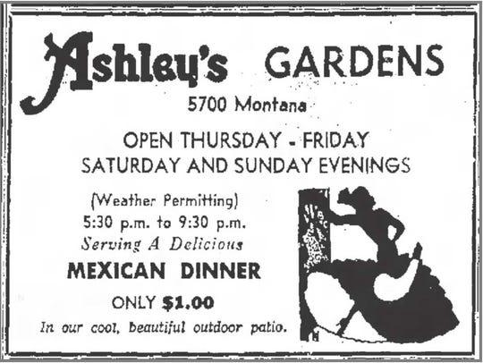 Ashley's ad, June 22, 1957.
