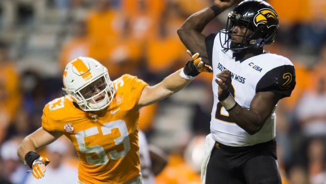 Southern Miss quarterback Keon Howard (2) is pressured by Tennessee linebacker Colton Jumper (53) during the game between Tennessee and Southern Miss at Neyland Stadium in Knoxville, Tennessee, on Saturday, Nov. 4, 2017.