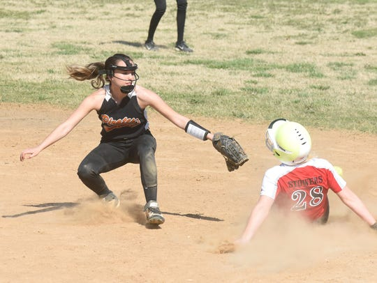 Norfork's Kinley Stowers slides safely into second