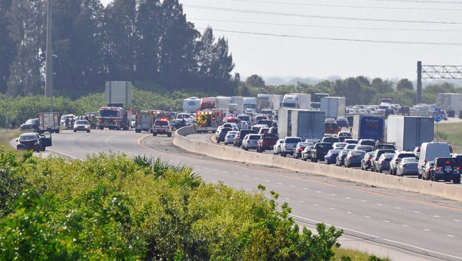Traffic is seen on Interstate 95 after a fatal crash on Wednesday, July 6, 2016.
