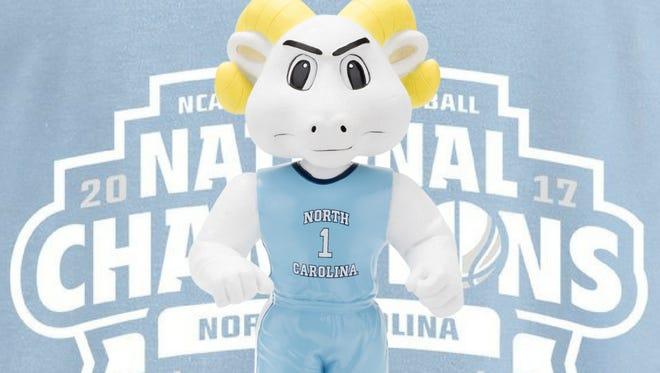 This bobblehead commemorates UNC's 2017 NCAA men's basketball championship.