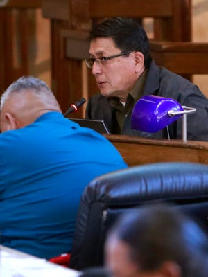 Navajo Nation Council Delegate Walter Phelps speaks on Jan. 28 during the tribal council's winter legislative session at the Council Chambers in Window Rock, Ariz.
