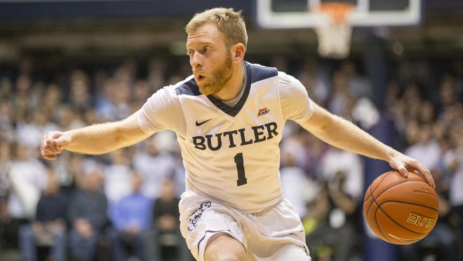 Tyler Lewis, of Butler, looks for an outlet during the second half, Xavier at Butler, Hinkle Fieldhouse, Indianapolis, Saturday, January 14, 2017. Butler won 83-78 over their ranked opponent.