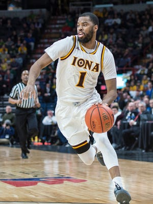 Iona Gaels guard Sam Cassell Jr. (1) dribbles the ball against the Siena Saints during the first half at the Times Union Center on Monday, March 6th, 2017. Cassell Jr. is one of five Iona players with previous NCAA Tournament experience.