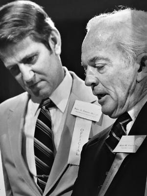 Alvin W. Vogtle Jr. (right) chats with Rev. Dan McCall during 1983 event. {Chronicle file]
