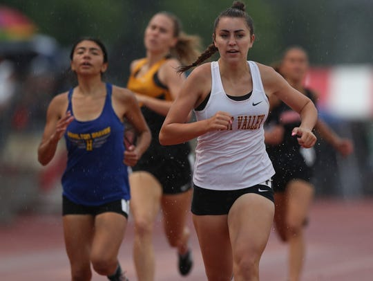 A West Valley runner competes in the 2018 NSCIF track and field championships.