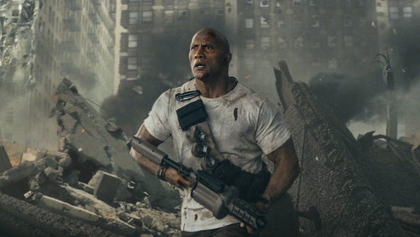 Dwayne Johnson takes on three genetically mutated creatures
