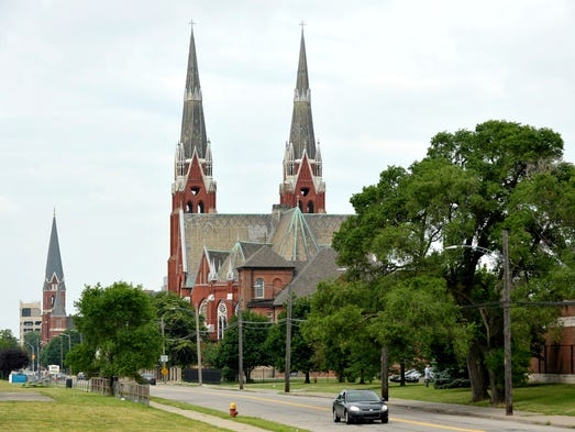Two large steeples are part of Sweetest Heart of Mary