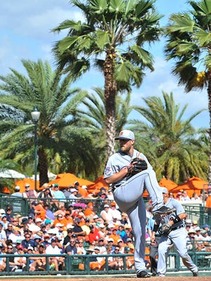 Ian Krol works in the fifth inning Wednesday against the Orioles.