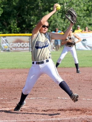 Elmira Notre Dame junior Alivia Clark pitches against Addison in the Class C state championship game in South Glens Falls on June 13. Clark was named to the Class C all-state first team for the second straight year.