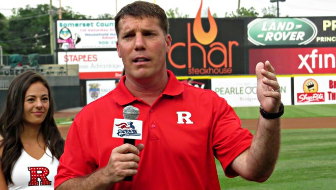 Rutgers University football coach Chris Ash addresses the crowd at TD Bank Ballpark in Bridgewater on Friday night.