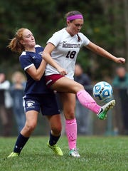 Morristown's Holly Burns goes controls the ball vs. Chatham NJAC-United girls soccer match.  October 11, 2017. Morristown, New Jersey