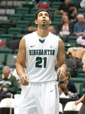 Binghamton University forward Nick Madray plays during a game in the Events Center in December 2013.