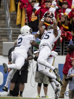 Penn State is loading up on versatile defensive backs in their 2017 recruiting class to match up with Marcus Allen, left,  and Grant Haley, right. Is West Virginia's Derrek Pitts the next to commit?