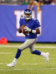 New York Giants quarterback Geno Smith (3) won the job as backup to Eli Manning with a strong summer, beating out incumbent Josh Johnson. The former Jets QB now joins Manning and rookie Davis Webb.