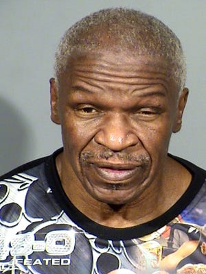 A photo provided by the Clark County Detention Center photo shows Floyd Mayweather Sr., 65, of Las Vegas. Police said Thursday, Jan. 25, 2018, that the father of boxer Floyd Mayweather Jr. faces a misdemeanor battery charge alleging that he pulled a woman out of his vehicle, punched her in the leg and left her after a Sept. 16, 2017, boxing event in Las Vegas.