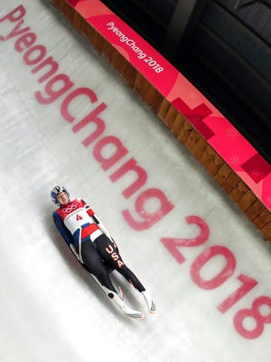 Summer Britcher of the United States competes in her second run during the women's luge competition at the 2018 Winter Olympics in Pyeongchang, South Korea, Monday, Feb. 12, 2018.