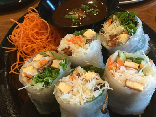 Chewy shiitake mushroom played against crunchy carrots, soft lettuce and tender tofu in Flix's Vietnamese summer rolls.