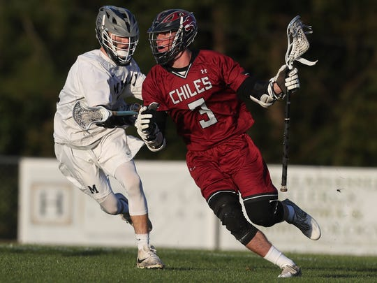Chiles' Logan Short tries to work his way to the goal