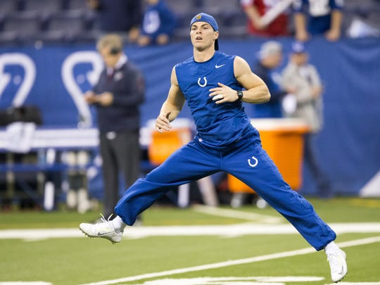 Griff Whalen, wide receiver and emergency quarterback for the Colts, warms up, Lucas Oil Stadium, Indianapolis, Sunday, Dec. 20, 2015.