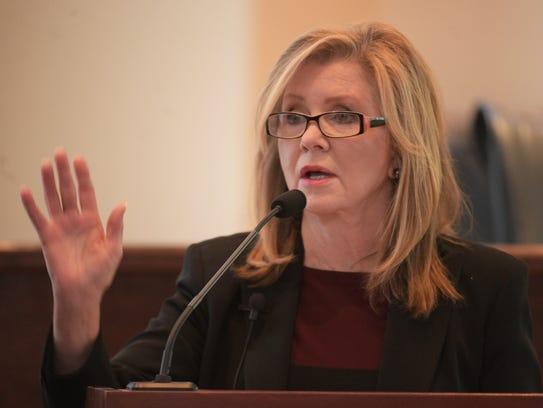 Rep. Marsha Blackburn addresses the crowd at a town