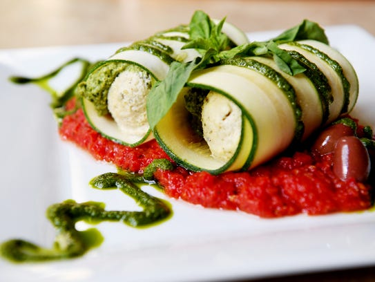 The Laughing Seed Café's spinach pesto manicotti.