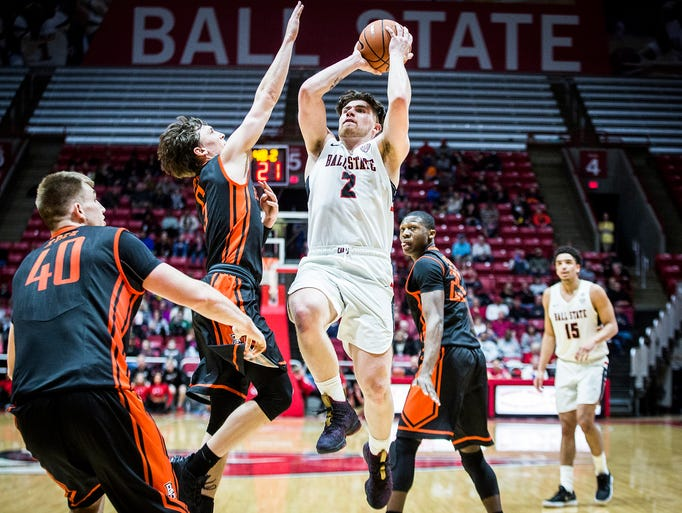 Ball State's Tayler Persons shoots past Bowling Green's