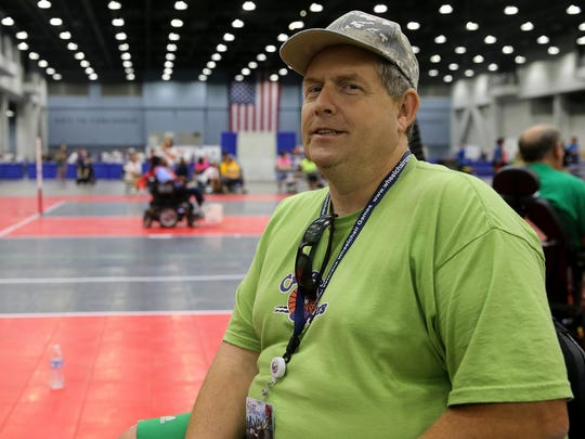 U.S. Marine Corps veteran Paul Donald Stewart Jr., 49, of Charlotte, North Carolina, is pictured during the 37th National Veterans Wheelchair Games, Wednesday, July 19, 2017, at the Duke Energy Convention Center in Cincinnati.